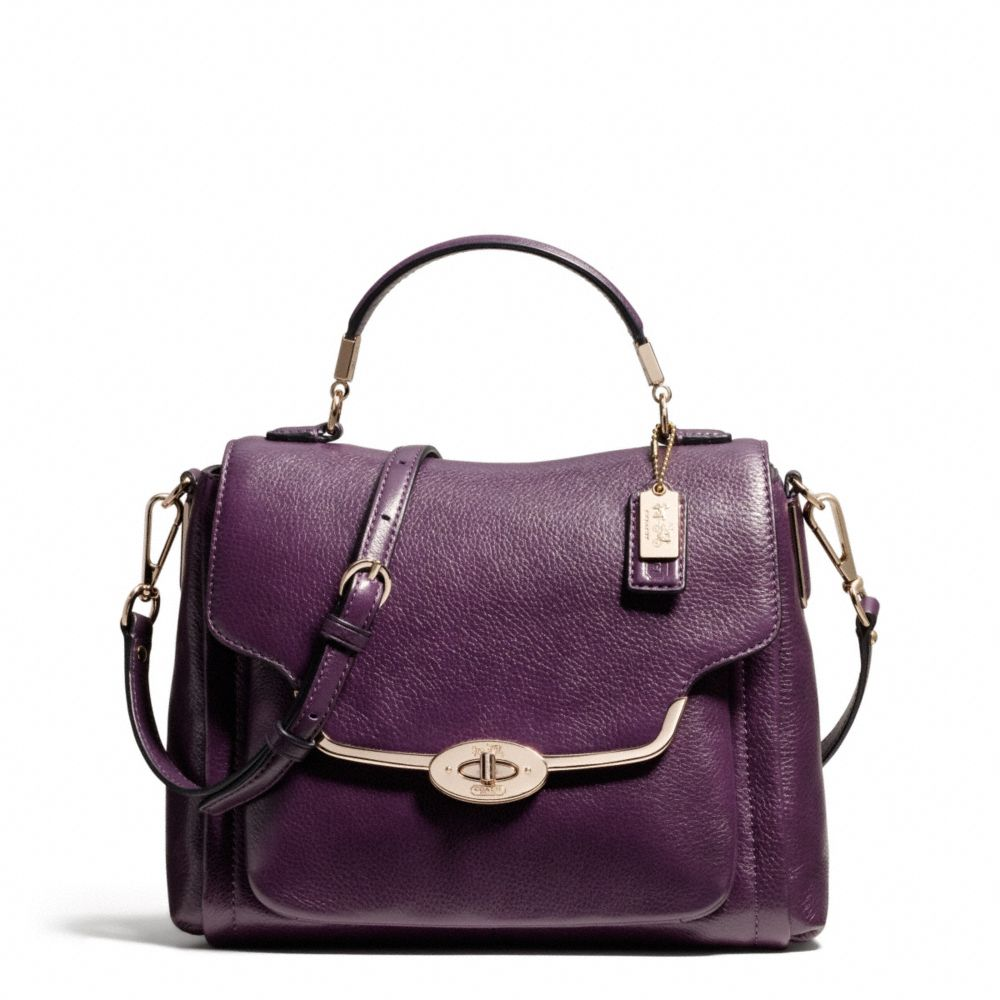 ... dark heather grey dufflette handbag aad63 9ca31  italy lyst coach  madison small sadie flap satchel in leather in purple 672ed f1882 6edb213ecd885