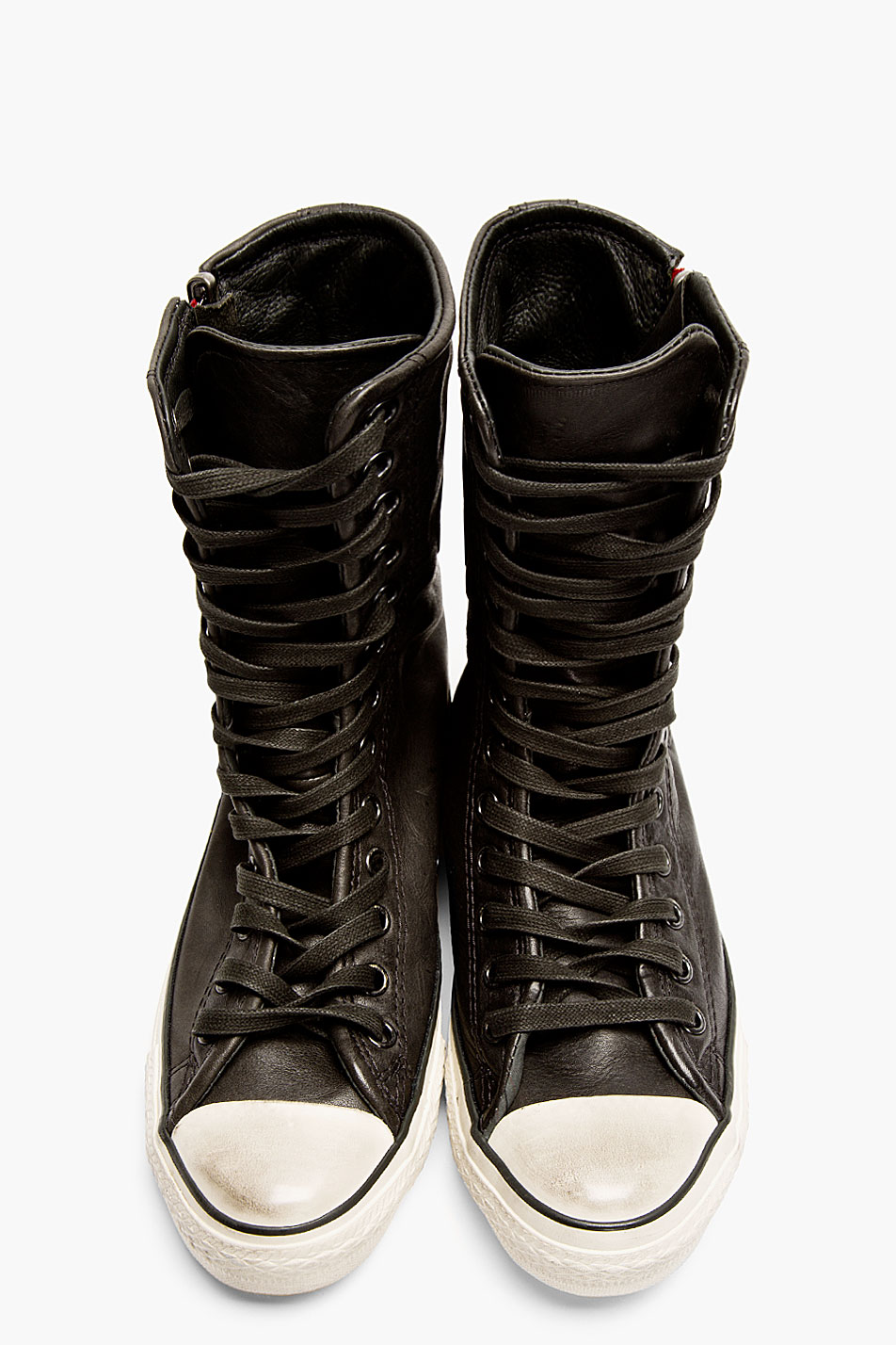 66c041f1e30 Lyst - Converse Black Leather Tall Zip Sneakers in Black for Men