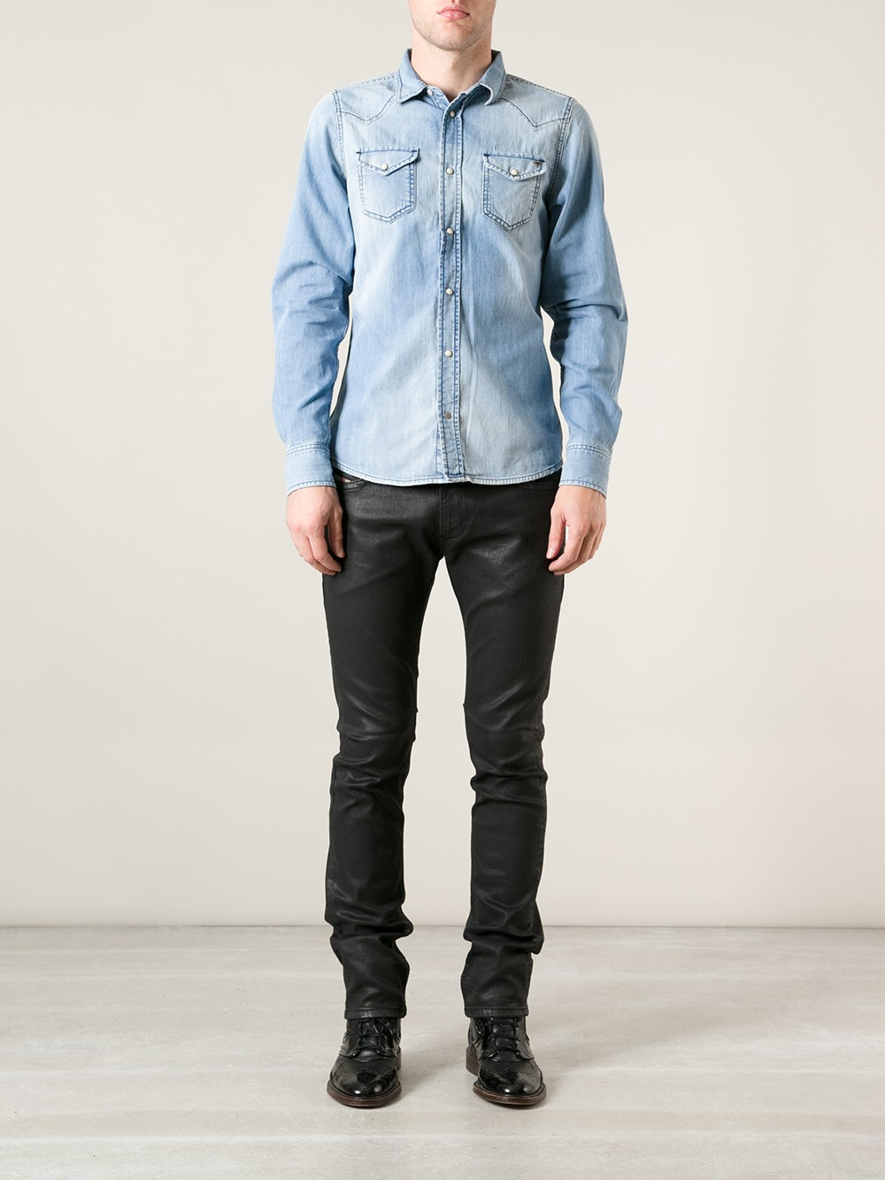 Lyst - Diesel Waxed Denim Jeans in Black for Men