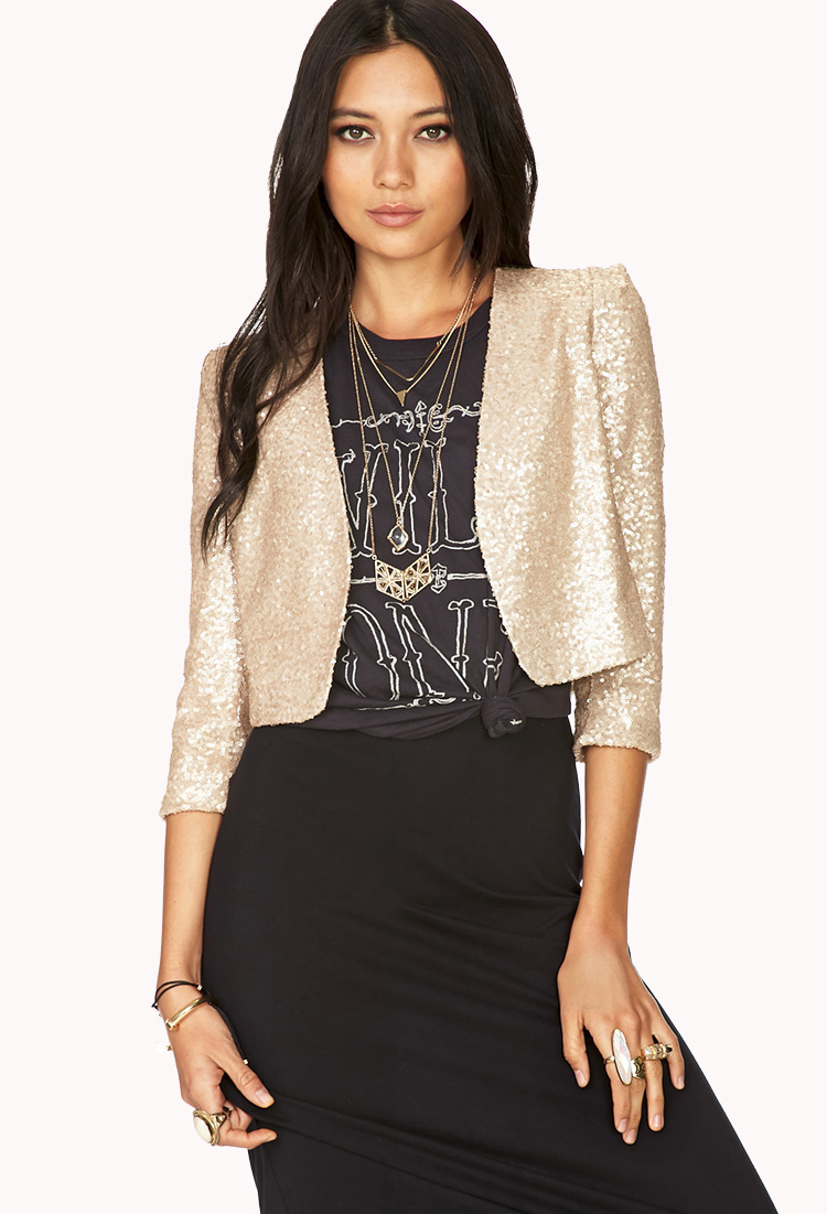 Forever 21 Showstopper Sequin Cropped Jacket in Gold
