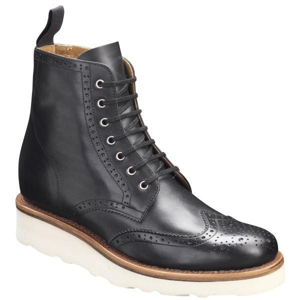 grenson womens v brogue boots in black for lyst