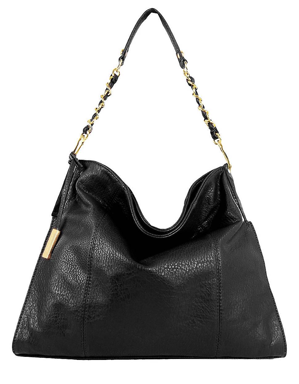 Ivanka Trump Crystal Faux Leather Bucket Hobo Bag in Black | Lyst