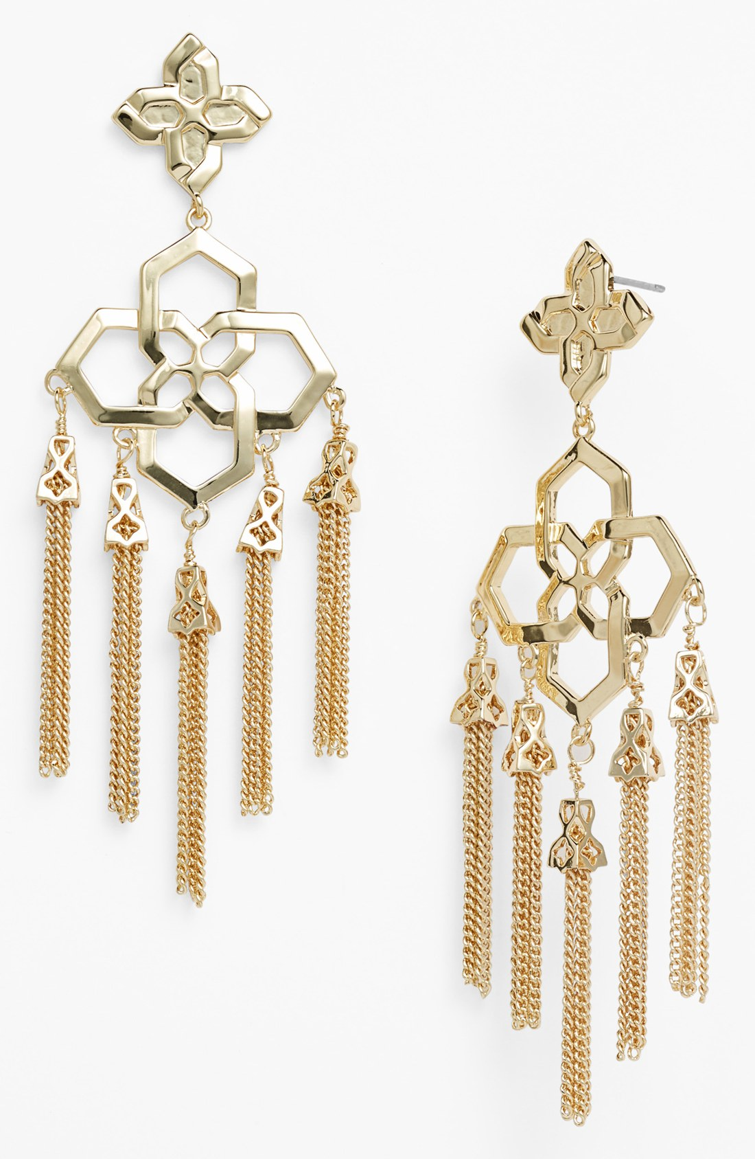Lyst kendra scott lara 14k chandelier tassel earrings in metallic gallery arubaitofo Images