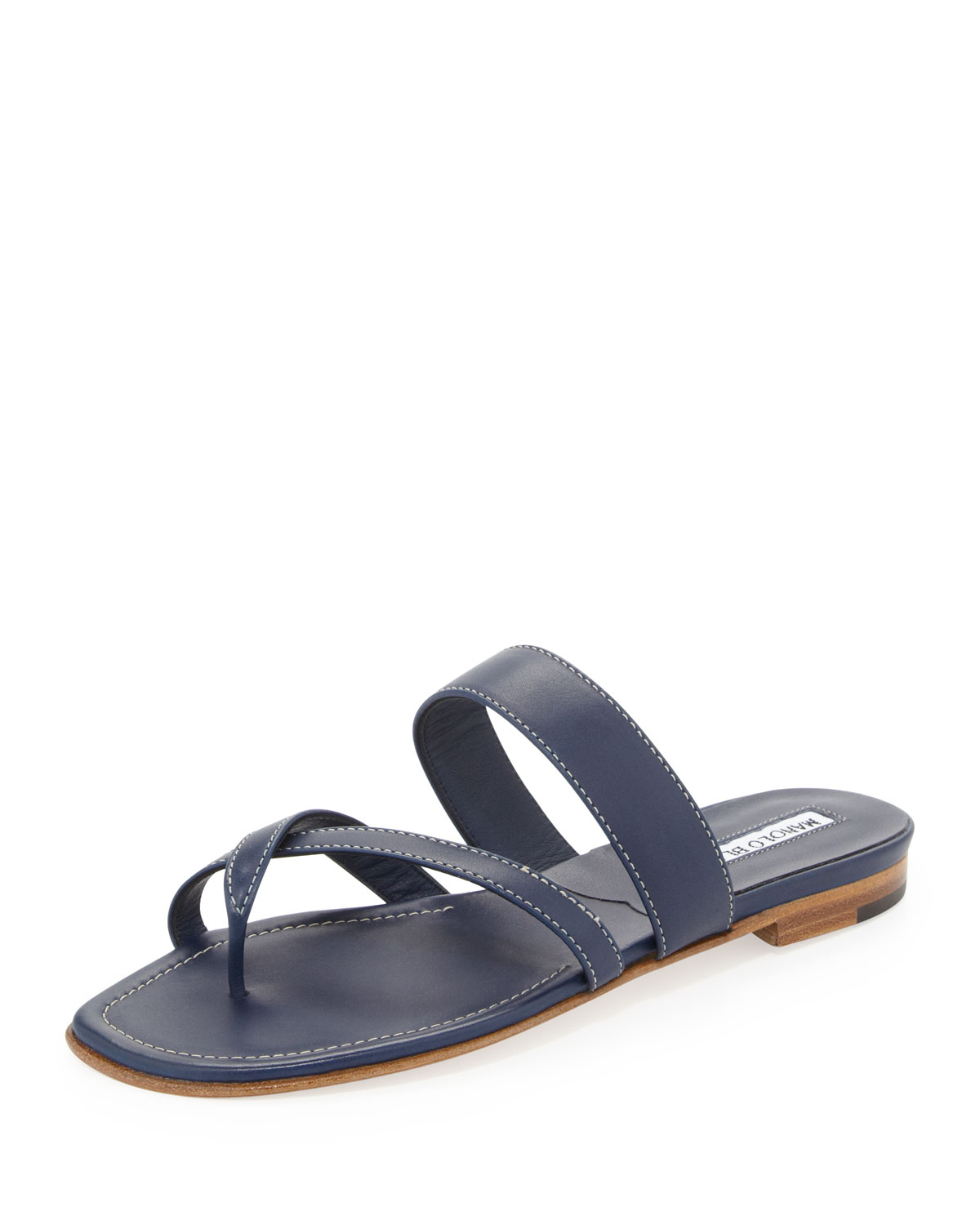 Lyst Manolo Blahnik Susa Flat Leather Sandal In Blue