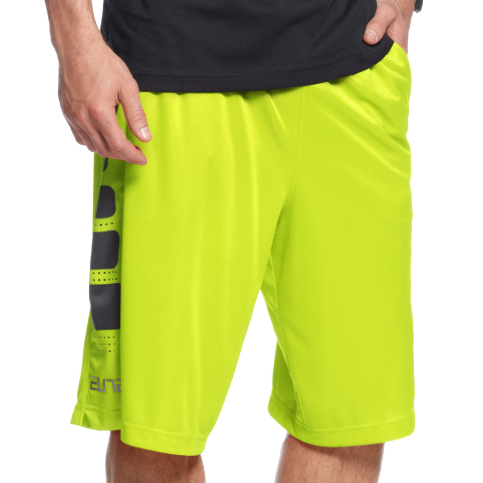 lyst nike elite stripe basketball shorts in yellow for men. Black Bedroom Furniture Sets. Home Design Ideas
