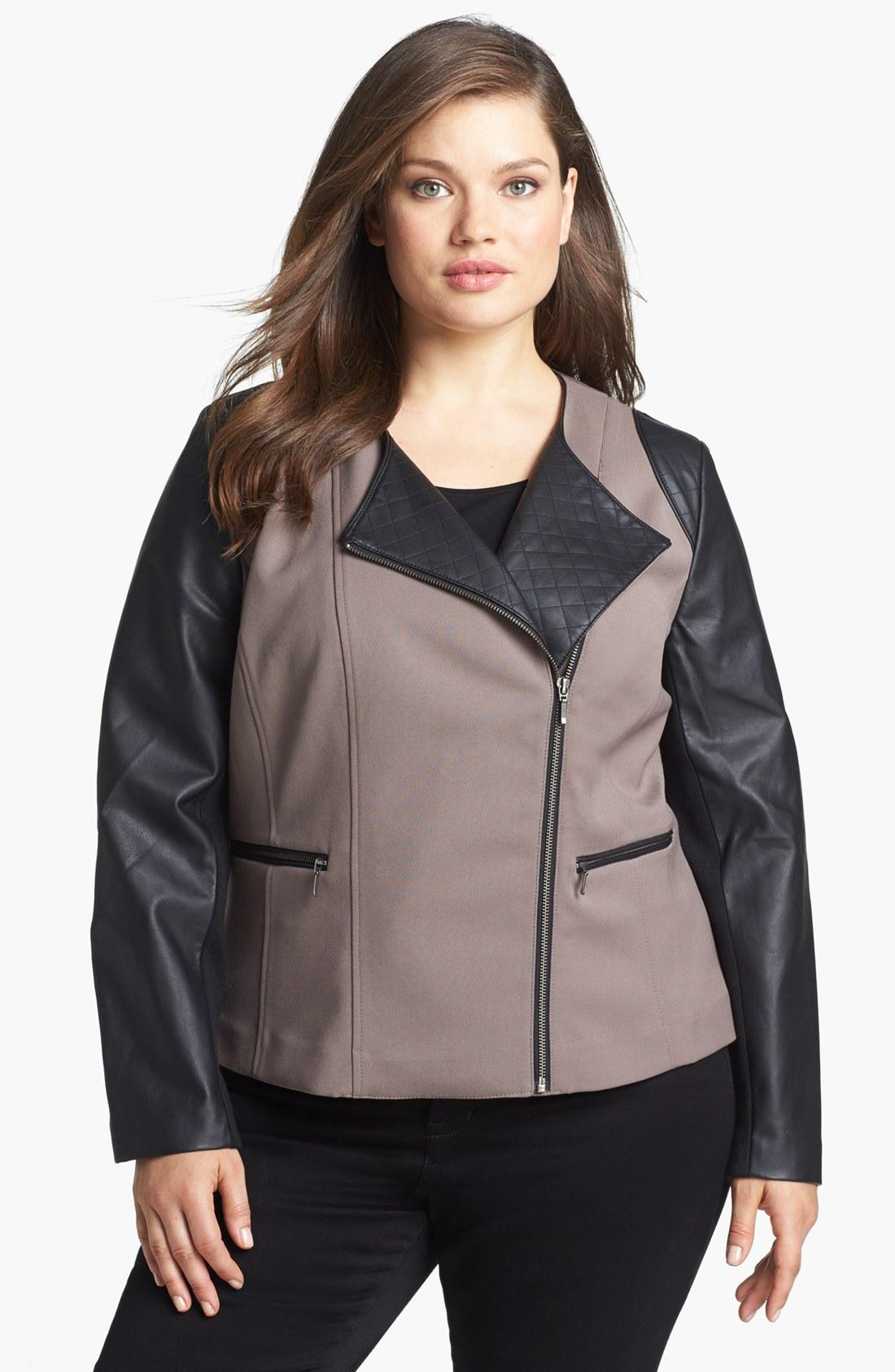 sejour faux leather twill moto jacket in black taupe. Black Bedroom Furniture Sets. Home Design Ideas