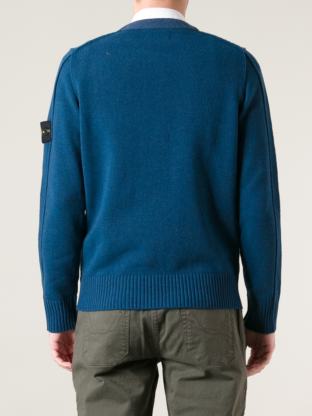 Lyst Stone Island Crew Neck Jumper In Blue For Men