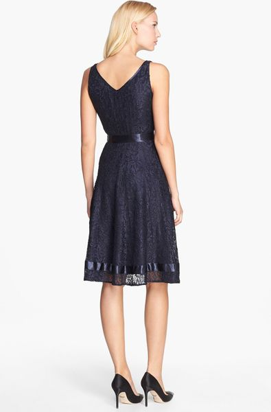 Tahari Lace Fit Flare Dress In Blue Navy Lyst