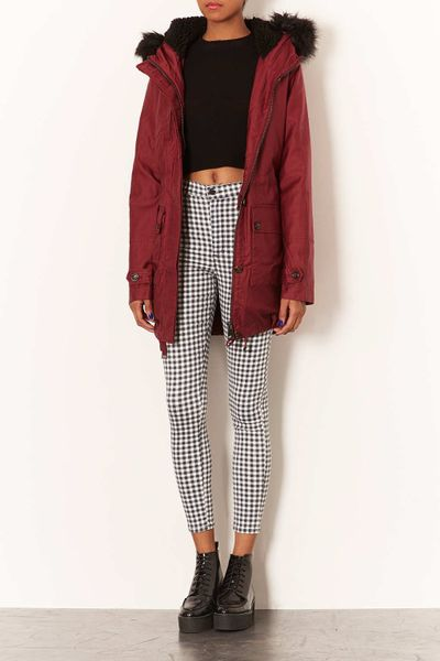 Topshop Borg Lined Clean Parka in Red (BERRY RED) | Lyst