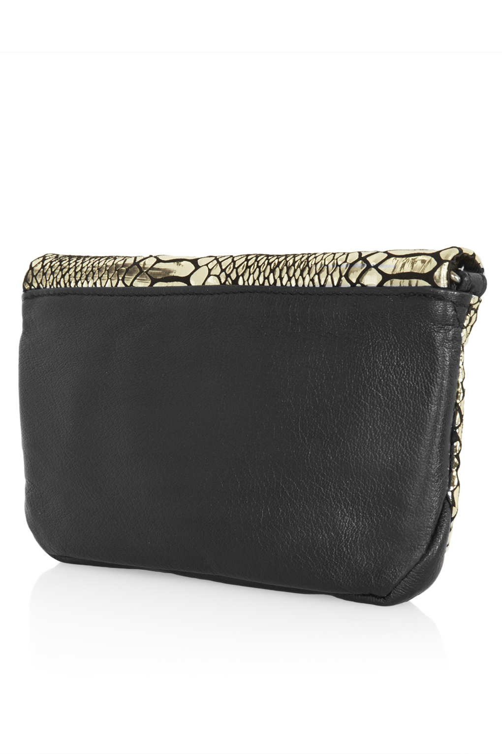 Lyst Topshop Chain Strap Leather Crossbody In Metallic