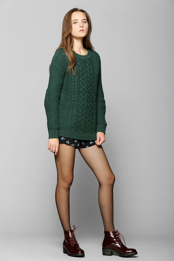 Lyst Urban Outfitters Fall For Cable Knit Sweater In Green