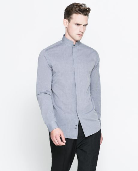 Zara Mao Collar Shirt In Gray For Men Grey Lyst
