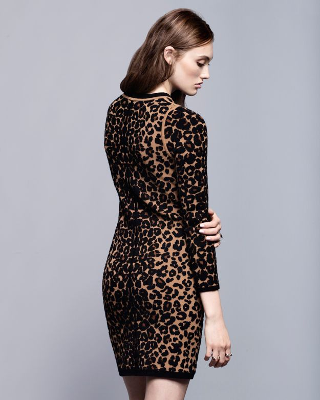 A.l.c. Exclusive Leopard Long Sleeve Knit Dress in Brown - Lyst