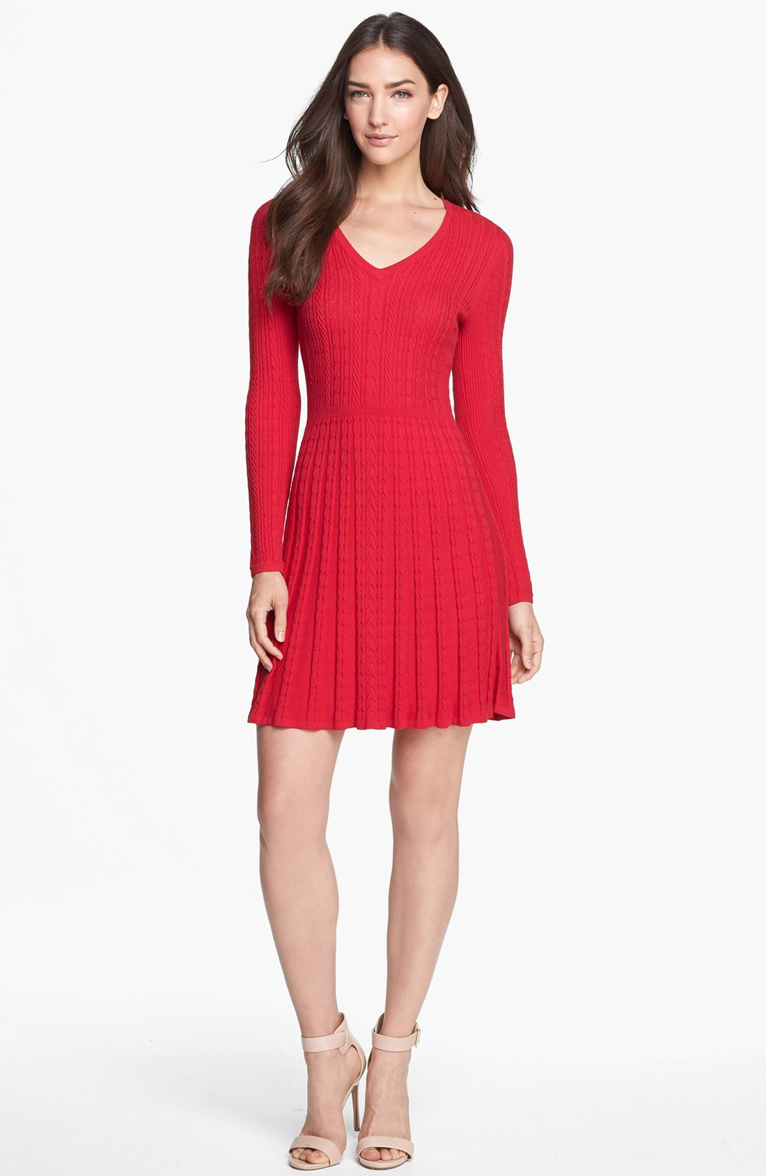 Bcbgmaxazria Cable Knit Fit Flare Sweater Dress In Red