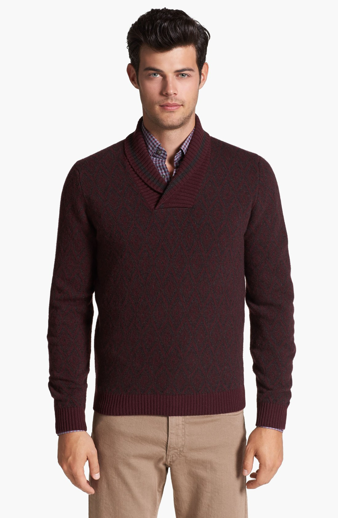 Wool Sweater Grey: Canali Wool Cashmere Shawl Collar Sweater In Red For Men