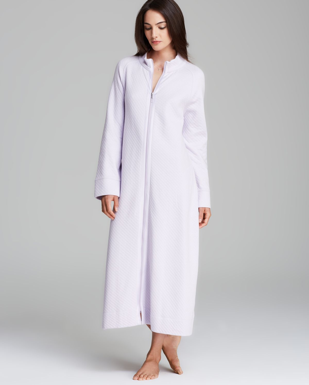 4f5a757cd3 Lyst - Carole Hochman Diamond Quilted Long Zip Robe in Purple