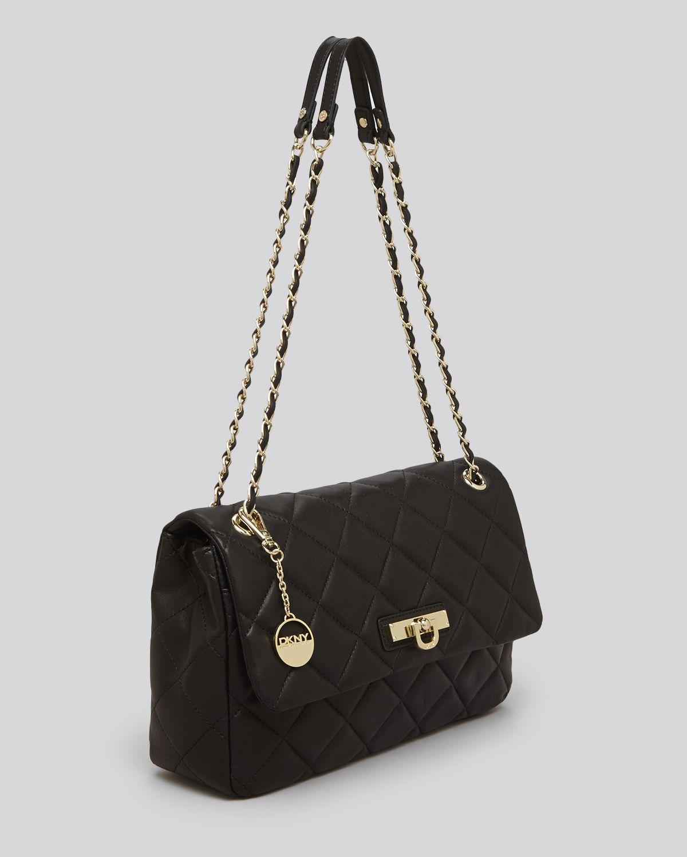 Lyst - Dkny Shoulder Bag Gansevoort Large Quilted Nappa in Black : dkny quilted shoulder bag - Adamdwight.com