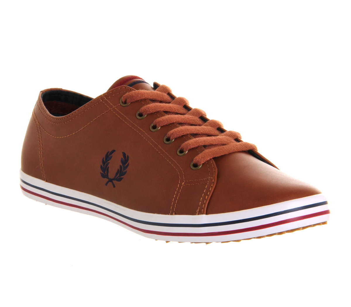 fred perry leather sneakers in brown for men lyst. Black Bedroom Furniture Sets. Home Design Ideas