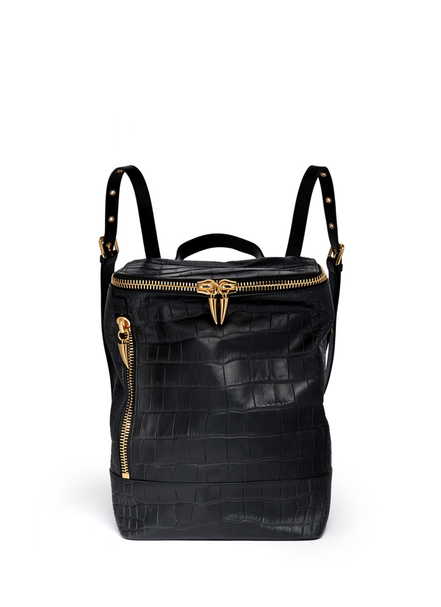 Lyst Giuseppe Zanotti Croc Embossed Leather Backpack In