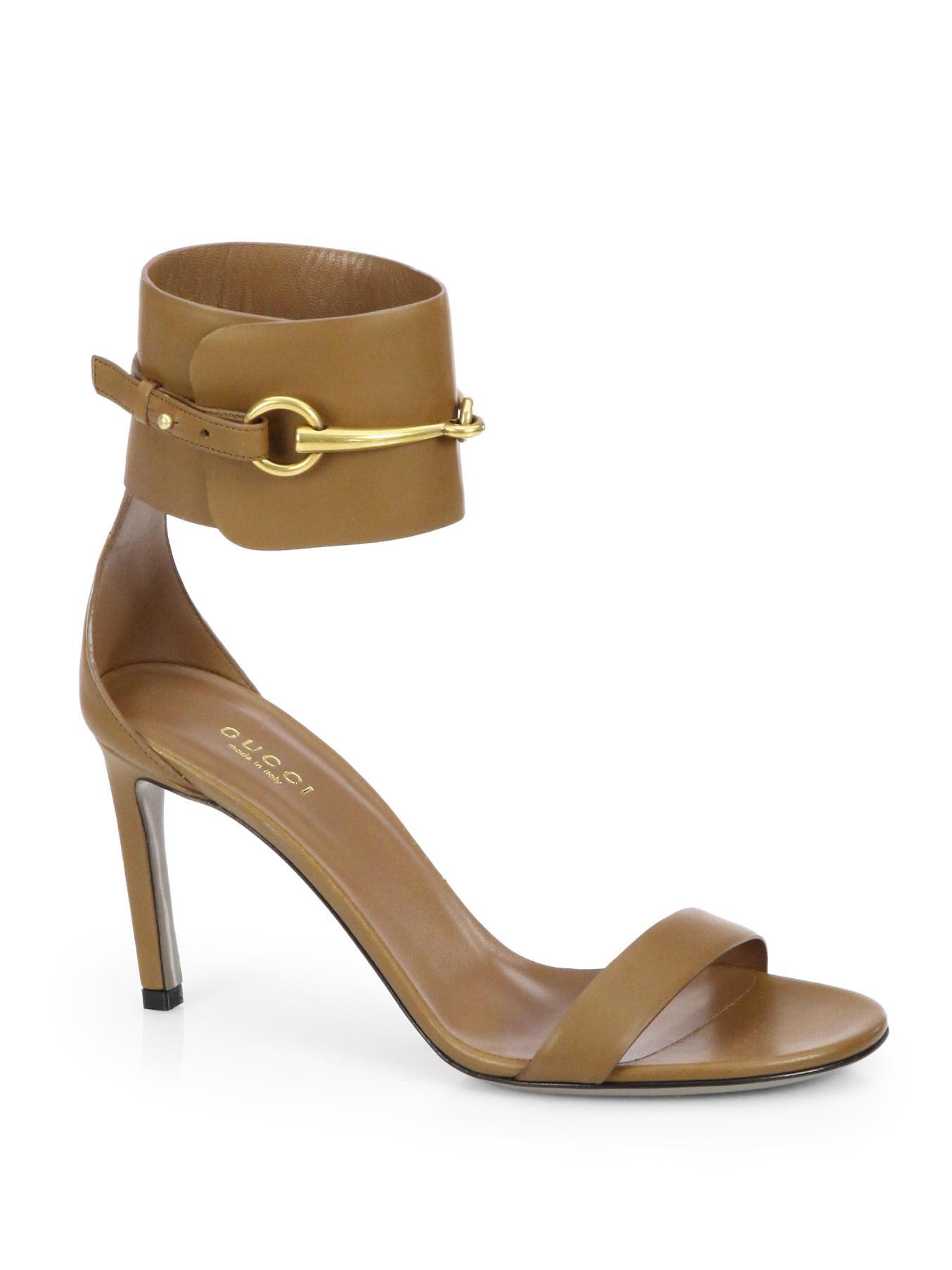 a74cc4a7f678 Lyst - Gucci Ursula Leather Horsebit Sandals in Brown