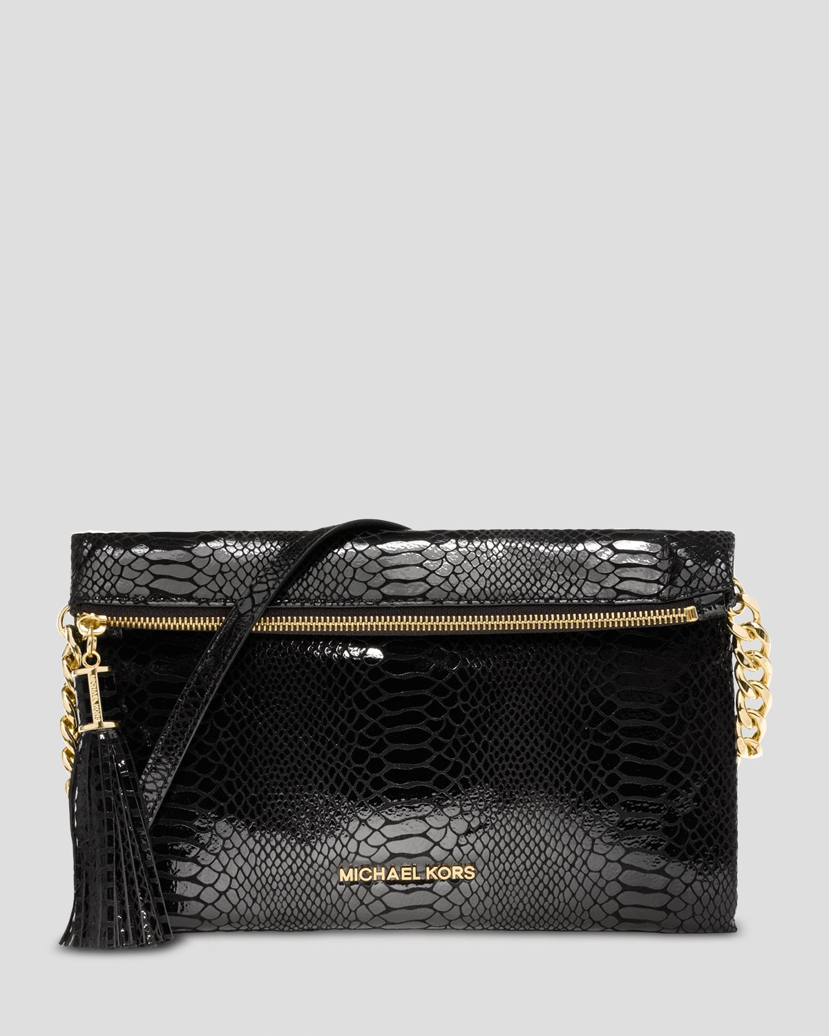 lyst michael michael kors clutch weston patent python embossed in black. Black Bedroom Furniture Sets. Home Design Ideas