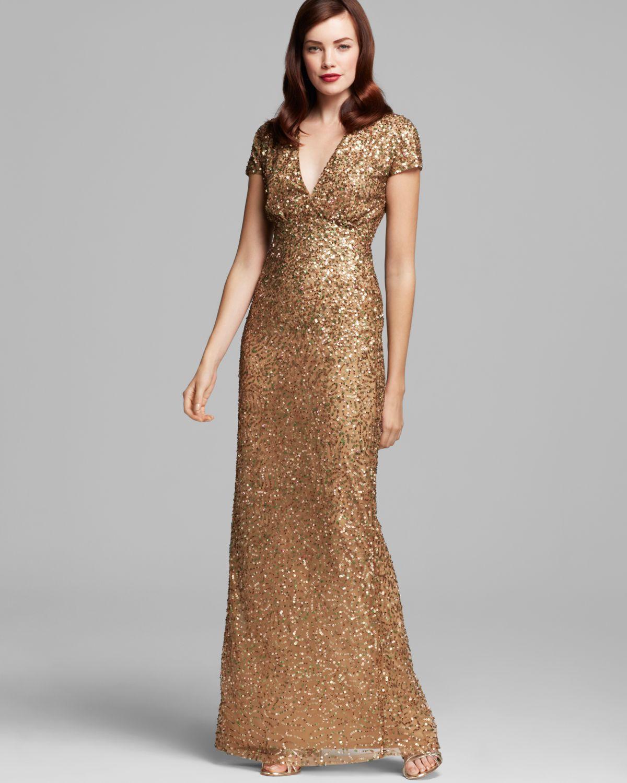 Lyst - Nicole Miller V Neck Sequin Gown Cap Sleeve in Metallic