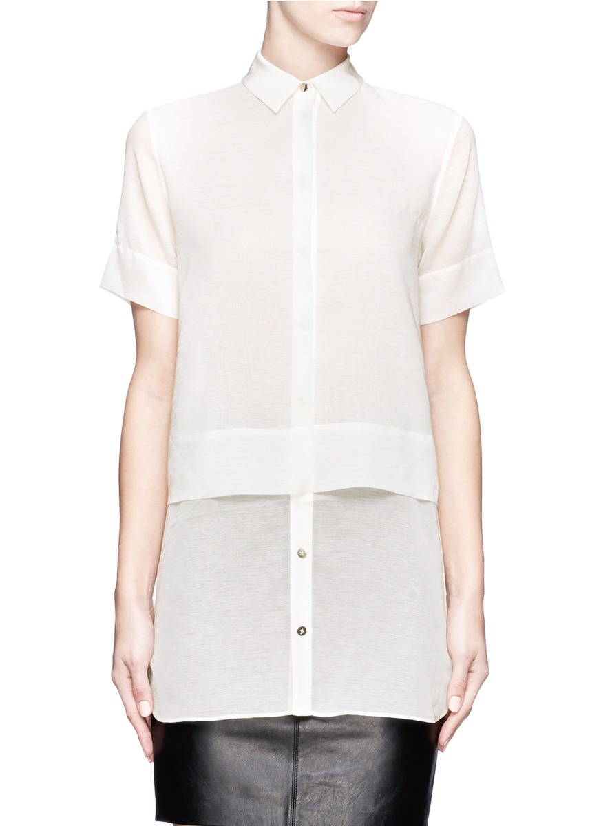 t by alexander wang layered chiffon short sleeve shirt in white lyst. Black Bedroom Furniture Sets. Home Design Ideas