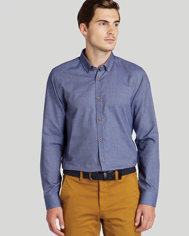 Ted baker flancan flannel sport shirt slim fit in blue for for Women s slim fit flannel shirt