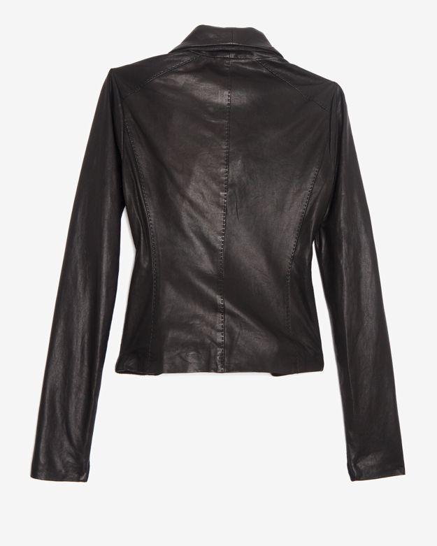 Lyst Vince Scuba Knit Trim Leather Jacket Black In Black