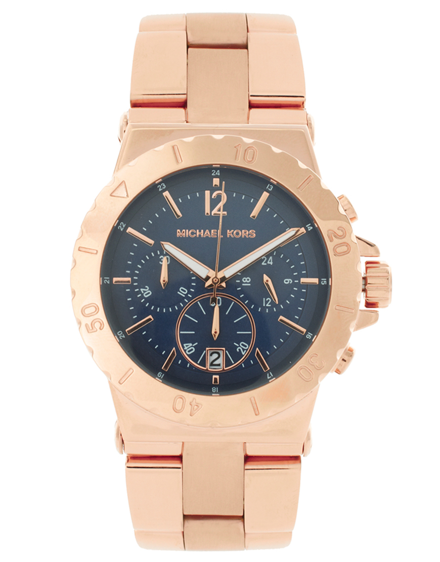 Michael kors rose gold watch in metallic lyst for Watches michael kors
