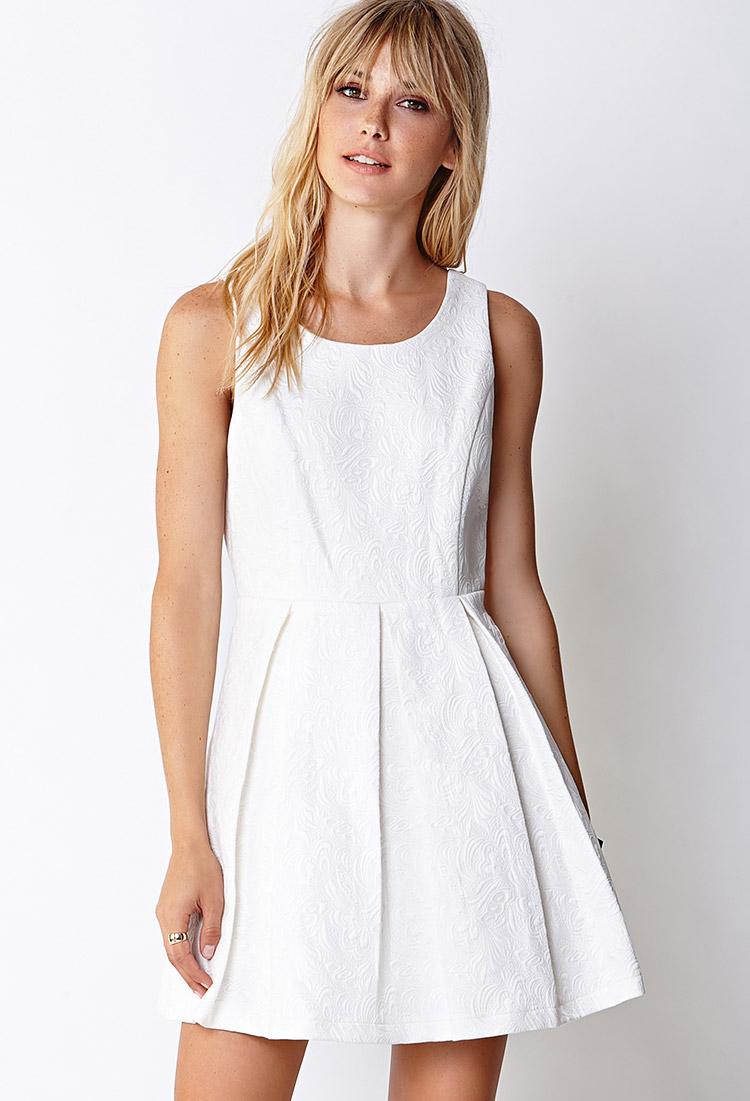 Forever 21 Hyperfemme Embossed Dress in White | Lyst - photo #21