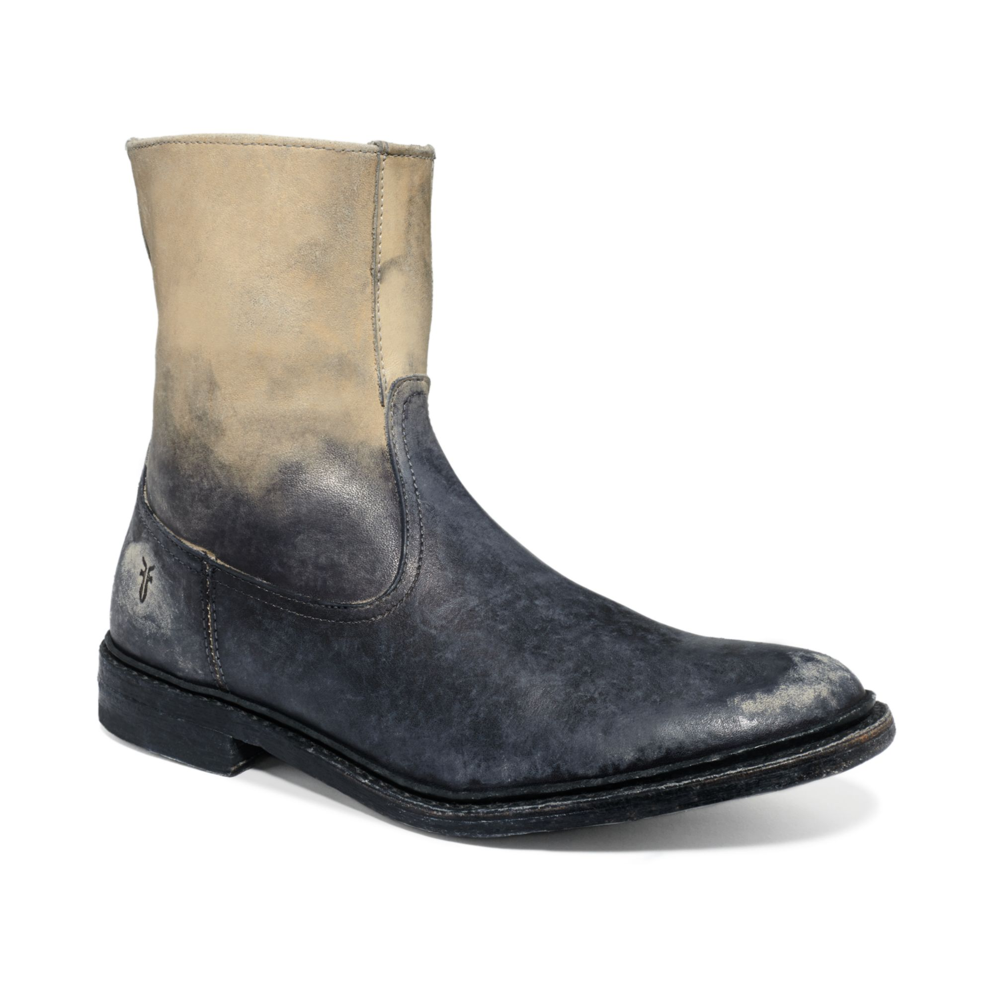 frye inside zip boots in gray for white