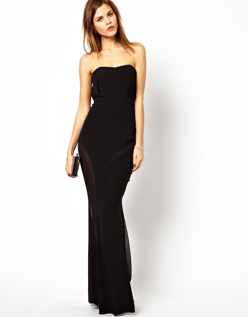 Asos Jarlo Bandeau Fishtail Maxi Dress with Mesh Insert in Black ...