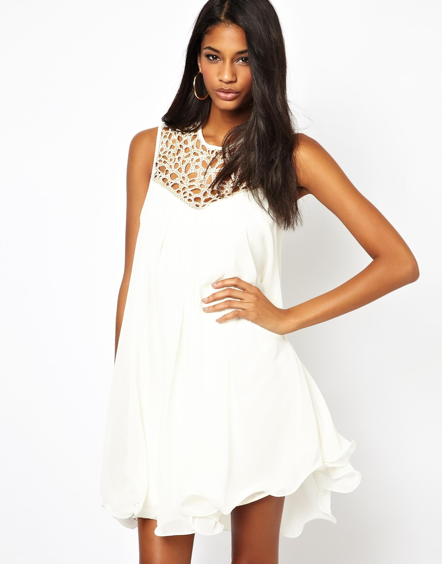 286d9a8c3d Marie Meili Lipsy Vip Trapeze Swing Dress with Cage Neck in White - Lyst