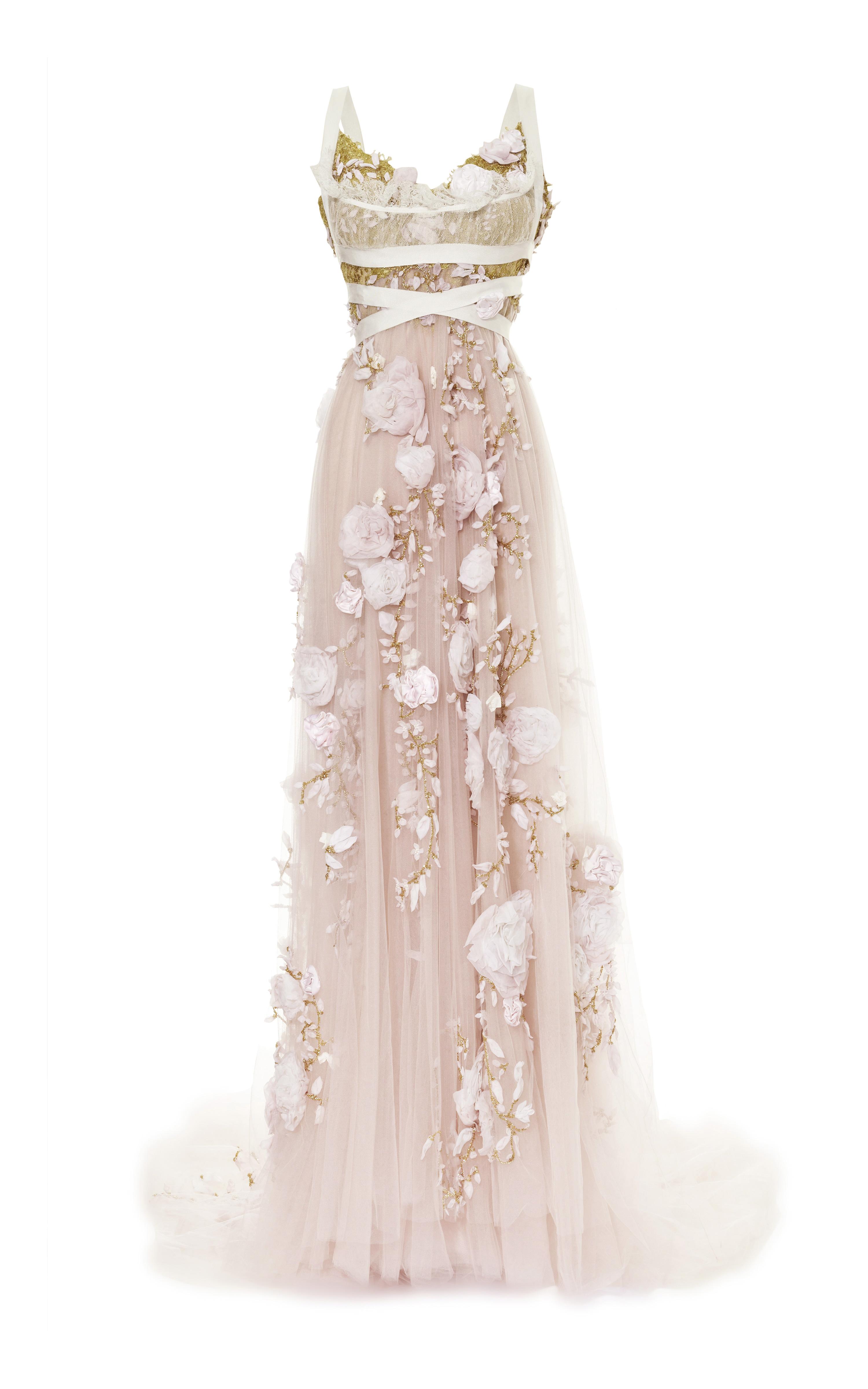 Marchesa 3d Silk Ribbon Rose Empire Waist Gown In Blush