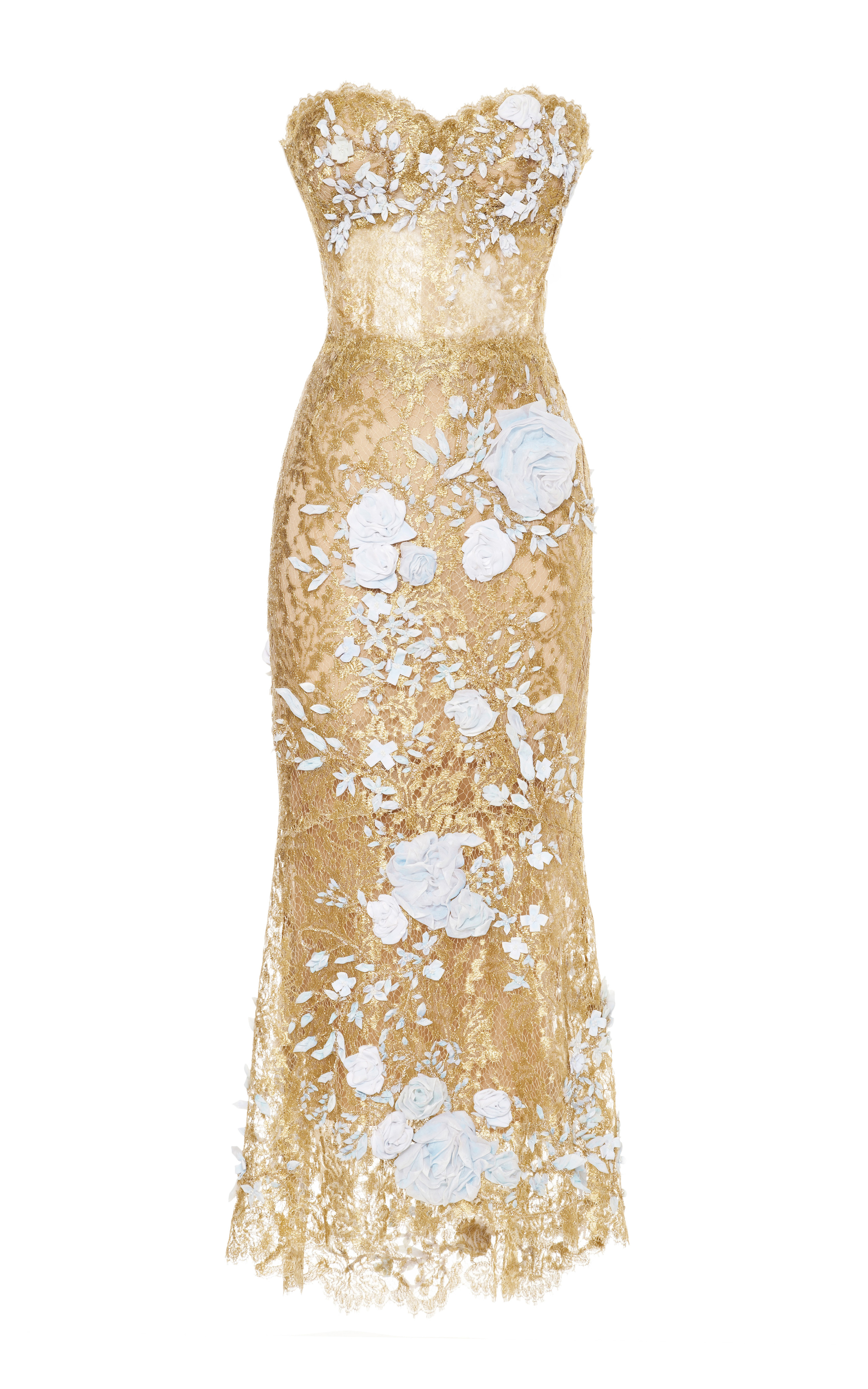 154f45965e Marchesa Strapless Metallic Lace Cocktail Dress in Natural - Lyst