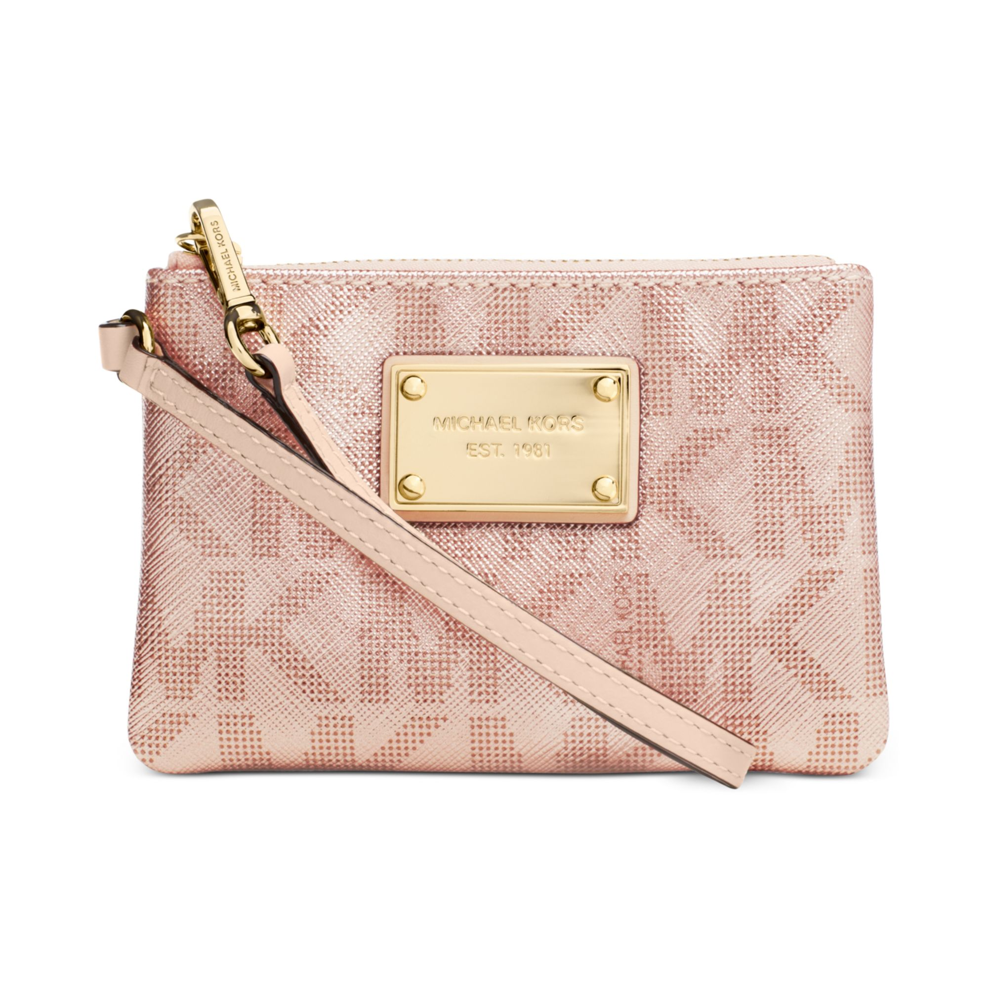 f8520bccd2aa Lyst - Michael Kors Small Signature Wristlet in Pink