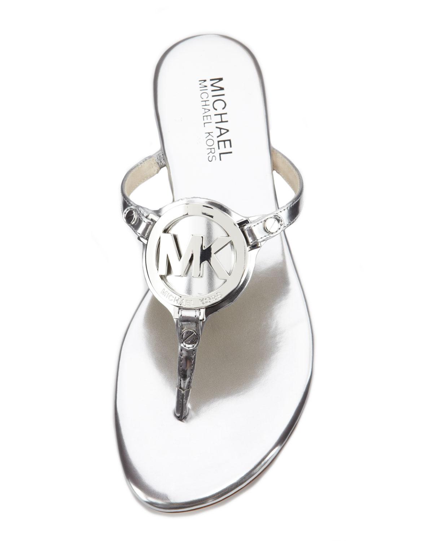 d03797dce44 Lyst - Michael Kors Michael Melodie Logo Thong Sandal in Metallic