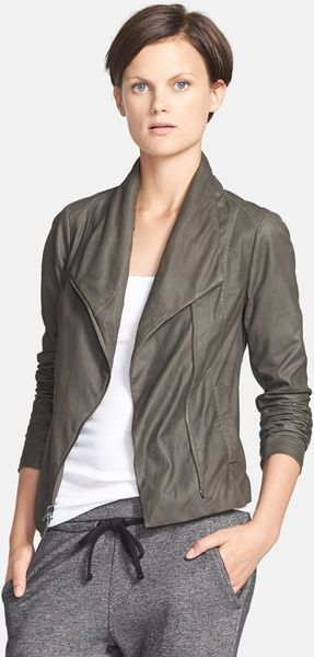 Vince Paper Leather Scuba Jacket In Gray Charcoal Lyst