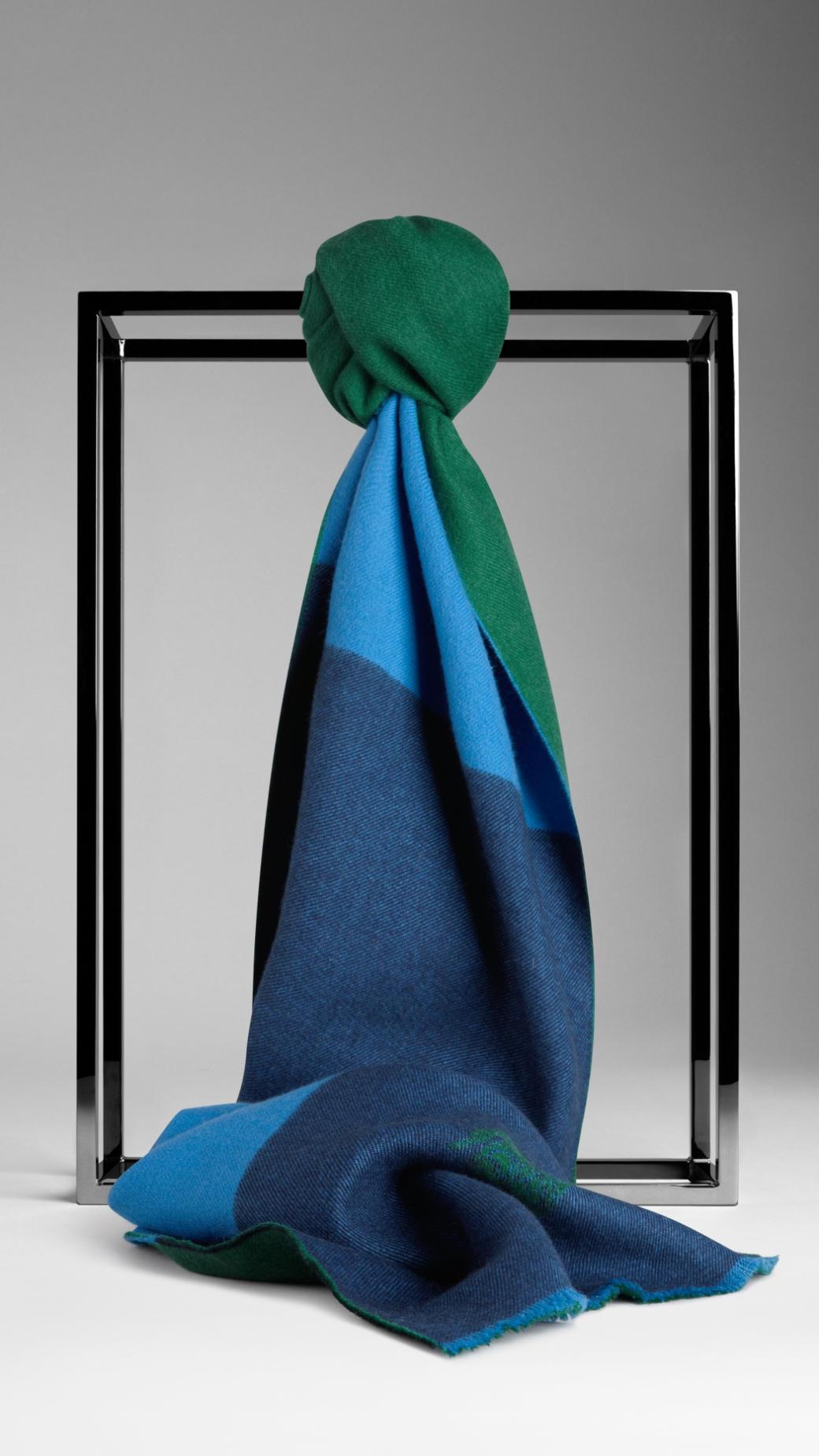 Lyst Burberry Striped Merino Wool Scarf In Blue For Men