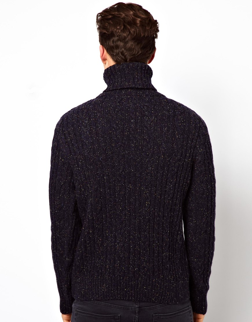Asos Edwin Roll Neck Sweater Batallion Cable Knit in Blue for Men Lyst