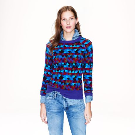 J.crew Collection Cashmere Stained Glass Sweater in Purple (burgundy violet blue)