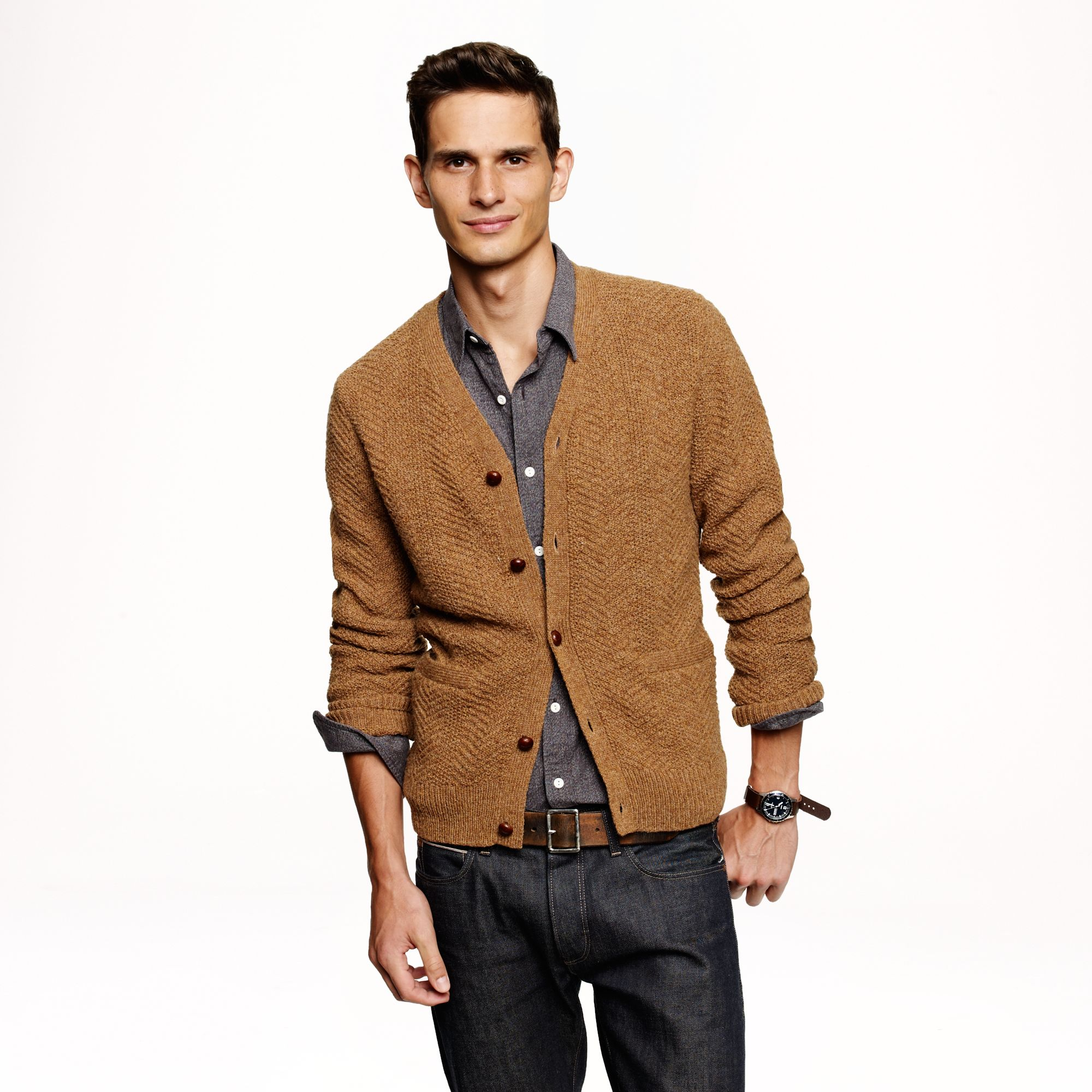 J.crew Wallace Barnes Wool Cableknit Cardigan in Brown for Men | Lyst