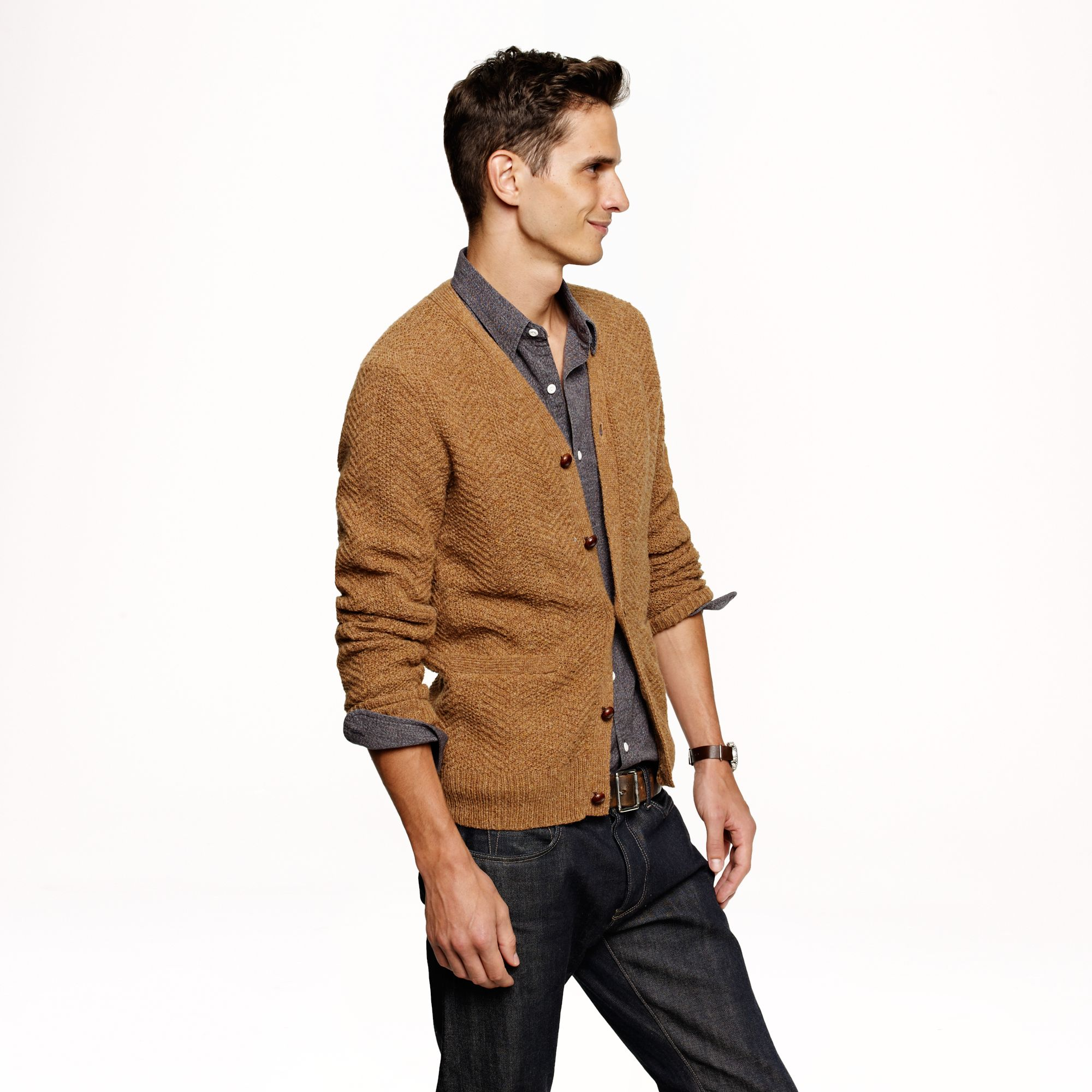 J.crew Wallace Barnes Wool Cableknit Cardigan In Brown For