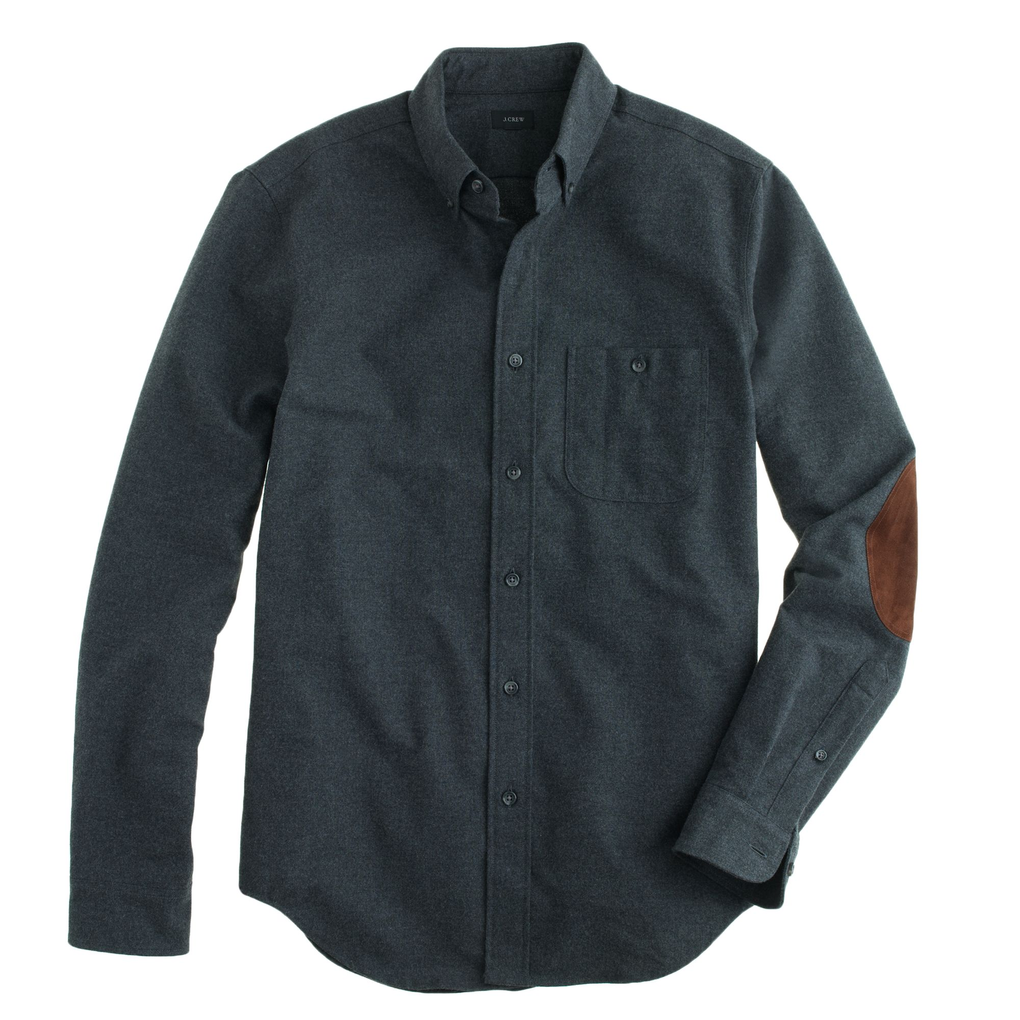 Tall Heathered Chamois Elbow Patch Shirt In Gray