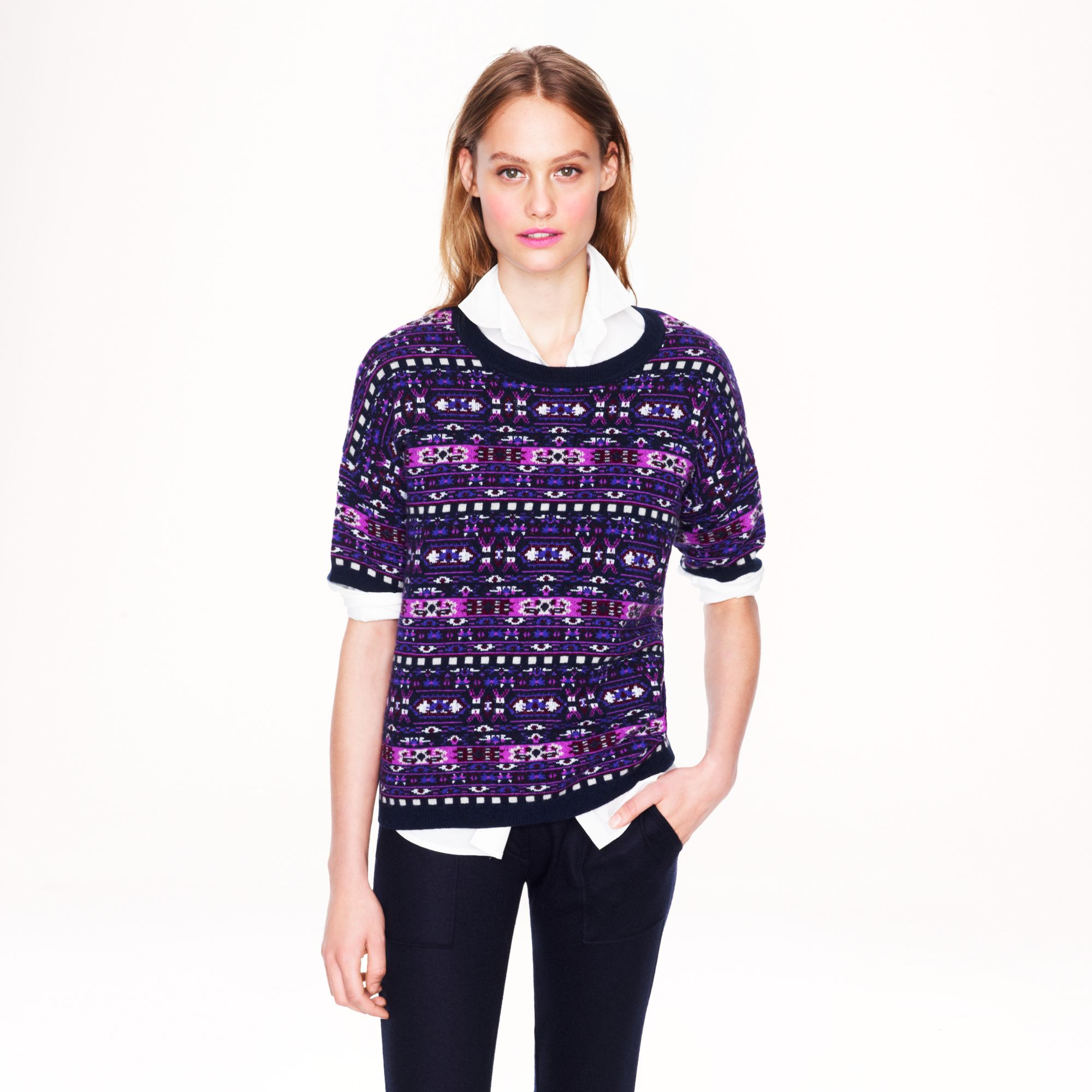 J.crew Collection Cashmere Fair Isle Backzip Sweater in Purple | Lyst