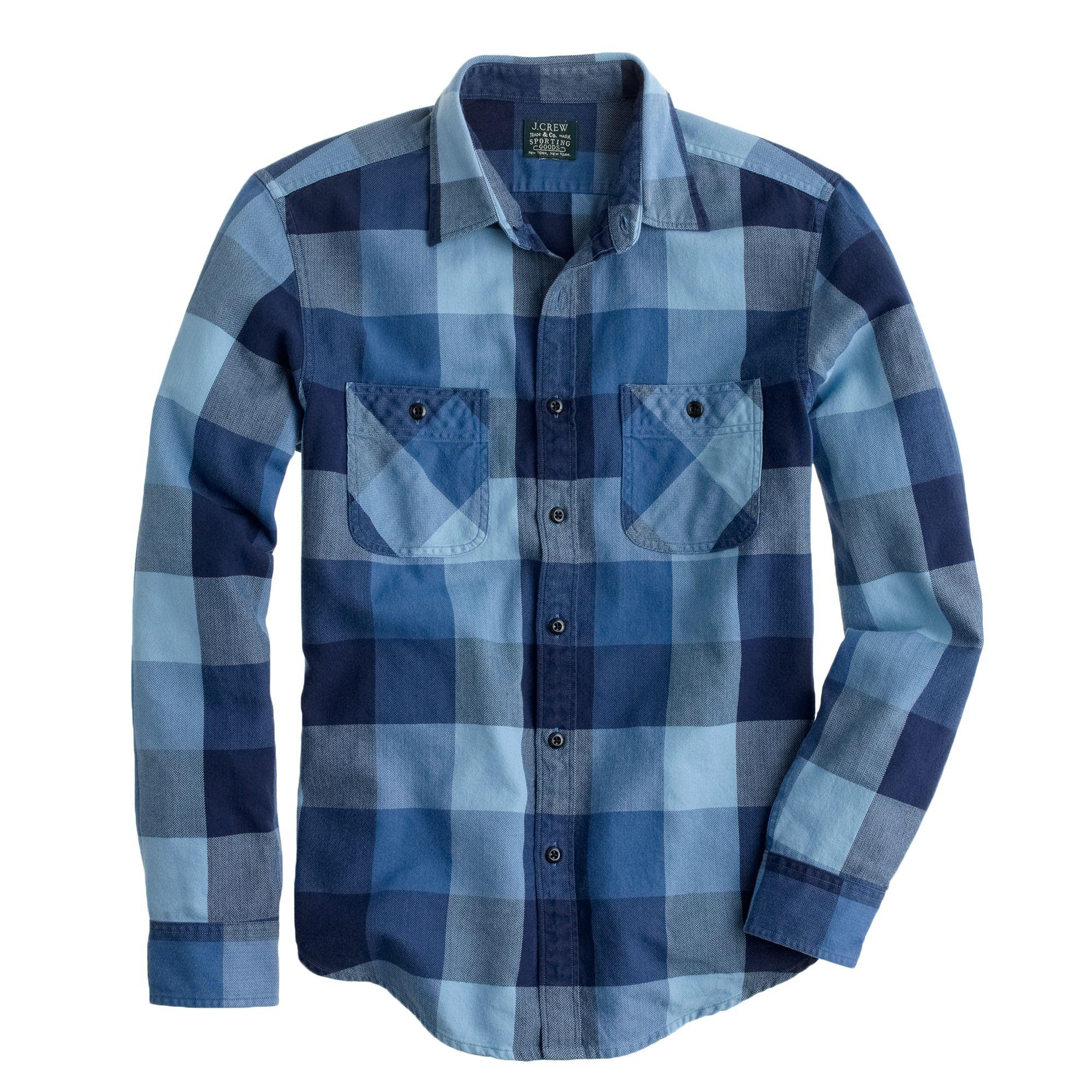 Tall flannel shirt in warm indigo herringbone plaid for Mens warm flannel shirts