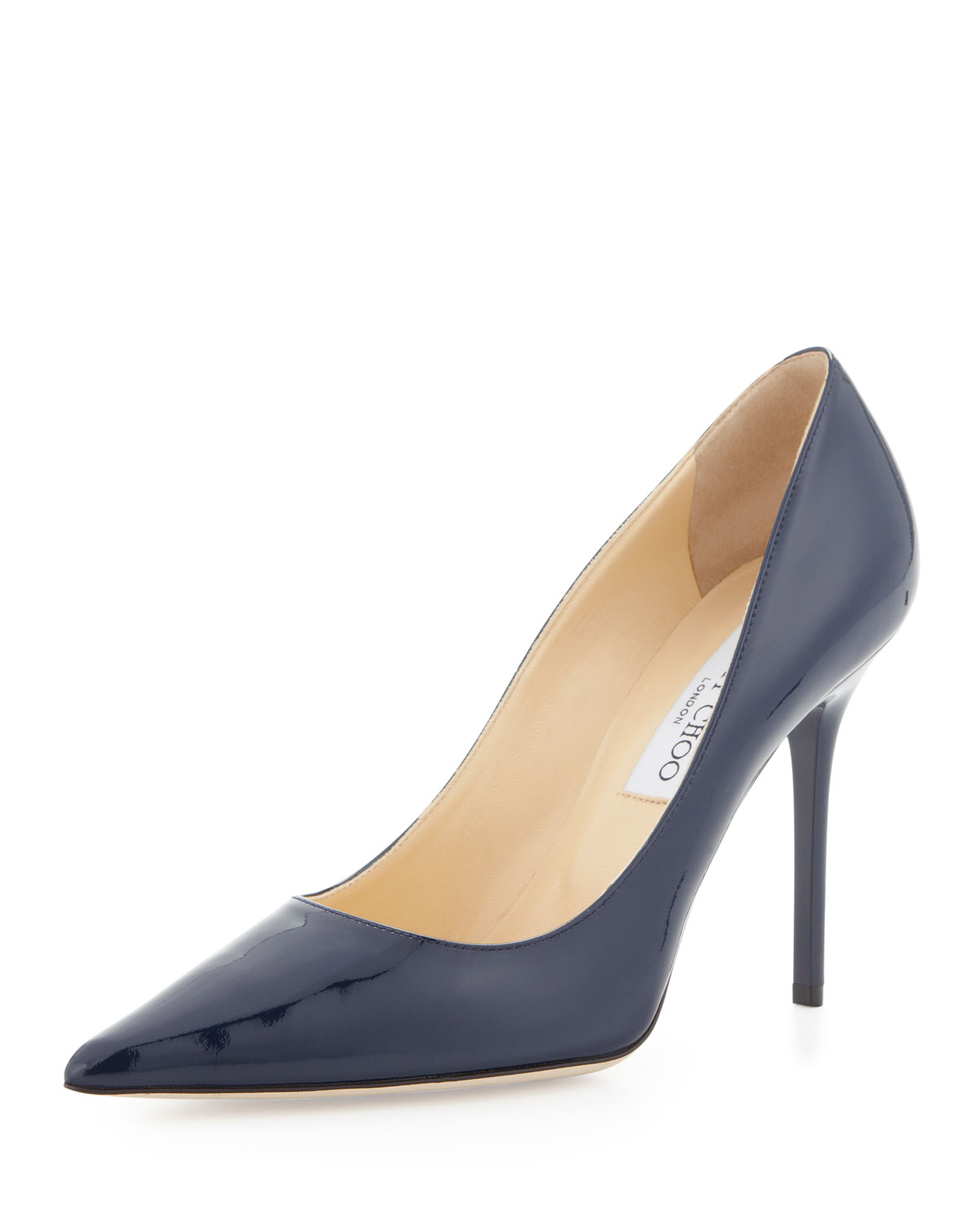 Jimmy Choo Agnes Pointedtoe Patent Pump Nude in Natural - Lyst