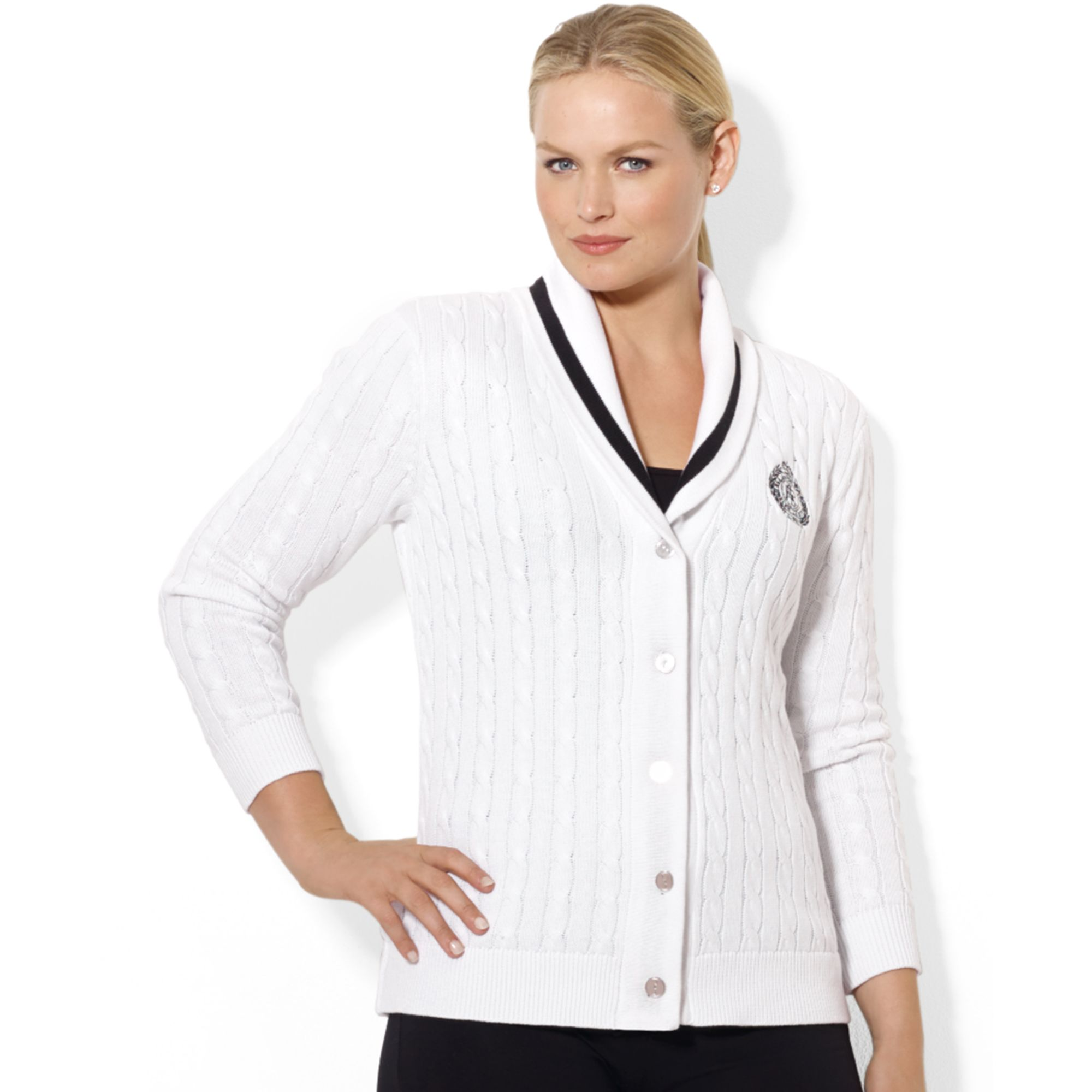 lauren by ralph lauren longsleeve shawl collar cable knit cardigan in white lyst. Black Bedroom Furniture Sets. Home Design Ideas