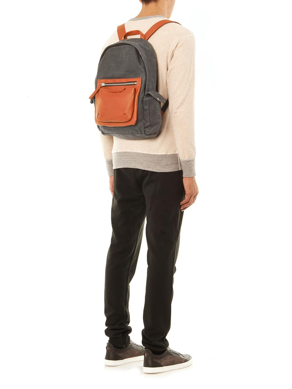 lyst marc by marc jacobs leather pocket backpack in gray for men. Black Bedroom Furniture Sets. Home Design Ideas